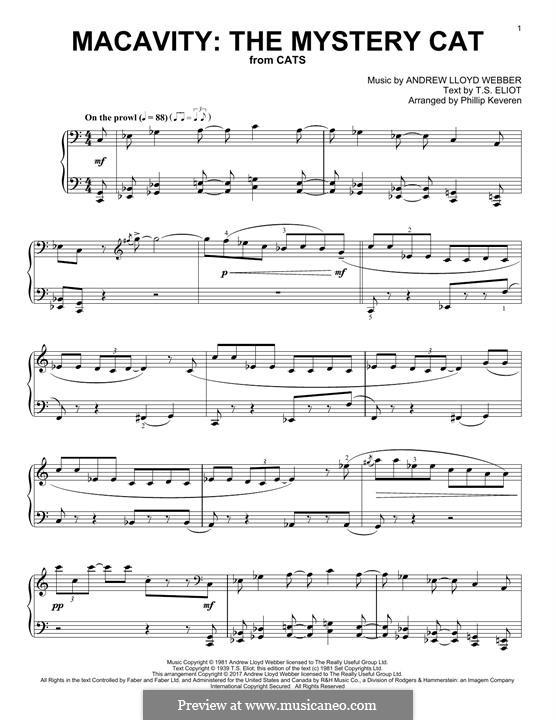 Macavity: The Mystery Cat (from Cats): Para Piano by Andrew Lloyd Webber