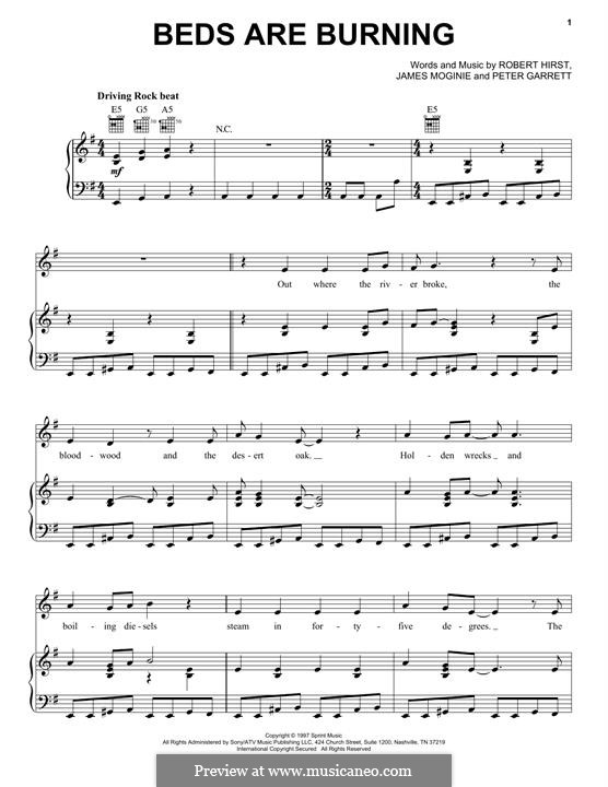 Beds Are Burning (Midnight Oil): Para vocais e piano (ou Guitarra) by Jim Moginie, Peter Garrett, Robert Hirst