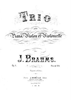 Piano Trio No.1 in B Major, Op.8: Partitura completa by Johannes Brahms