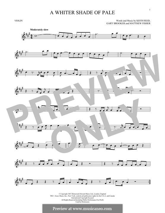 A Whiter Shade of Pale (Procol Harum): para violino by Gary Brooker