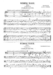 Wedding March No.1 for Organ and Three Trombones: parte Trombones by Charles Gounod