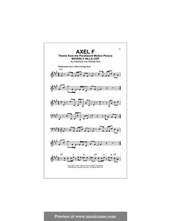 Axel F (from Beverley Hills Cop): melodia by Harold Faltermeyer