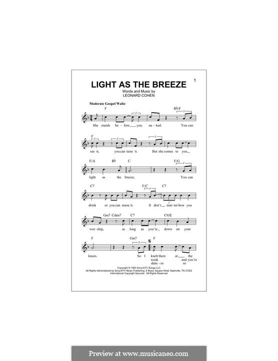 Light as the Breeze: melodia by Leonard Cohen