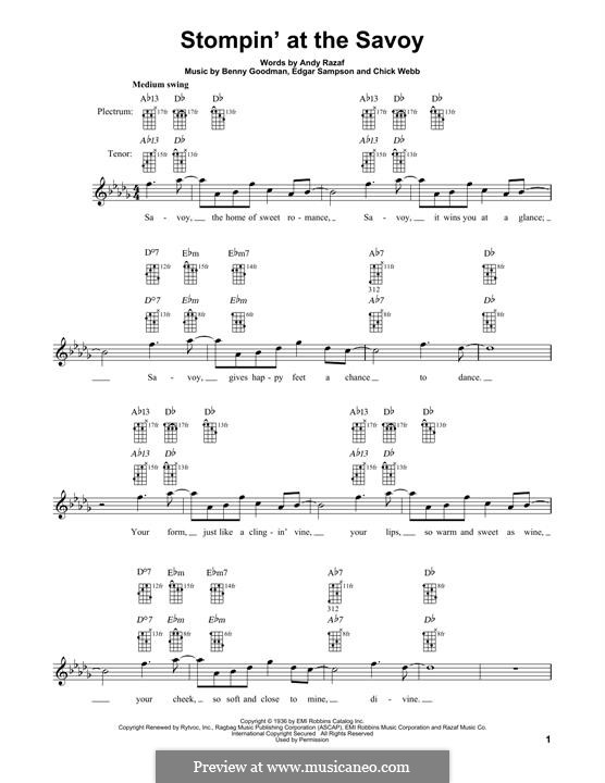 Stompin at the Savoy: For banjo by Benny Goodman, Chick Webb, Edgar Sampson