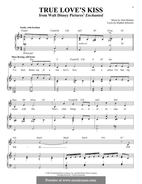 True Love's Kiss: Para vocais e piano by Alan Menken