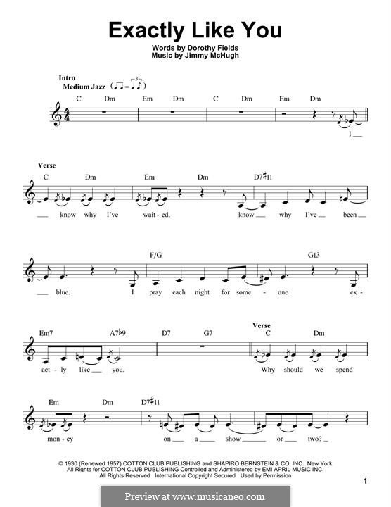 Exactly Like You: melodia by Jimmy McHugh