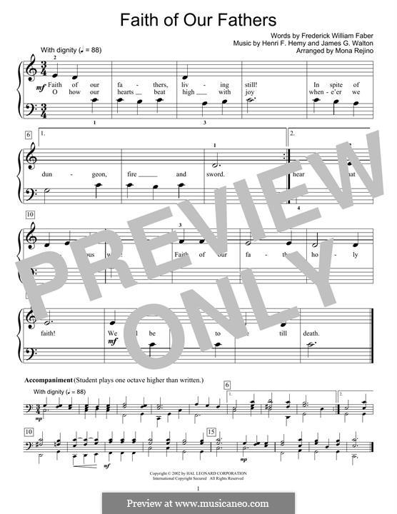 Faith of Our Fathers: Para Piano by Henri F. Hemy, James G. Walton
