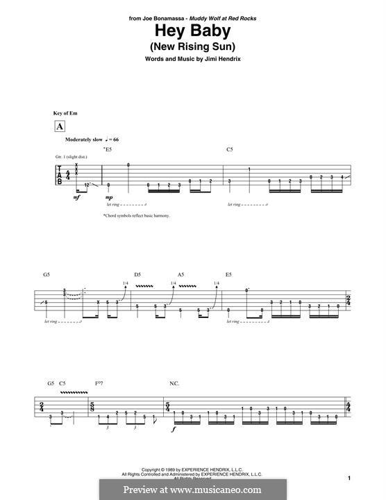 Hey Baby (New Rising Sun): Para guitarra com guia by Jimi Hendrix