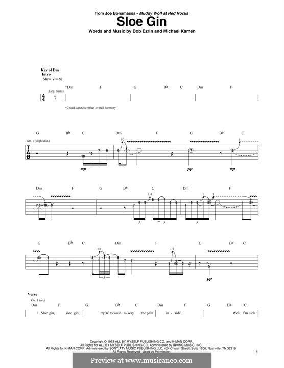 Sloe Gin (Joe Bonamassa): Para guitarra com guia by Bob Ezrin, Michael Kamen