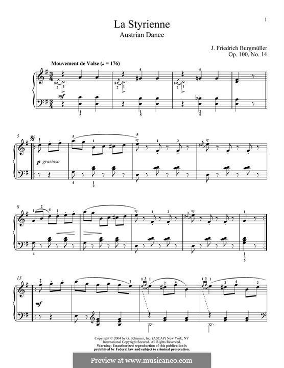 No.14 La Styrienne (Styrian Dance): Para Piano by Johann Friedrich Burgmüller