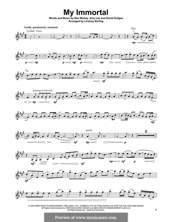 My Immortal (Evanescence): para violino by Amy Lee, Ben Moody, David Hodges