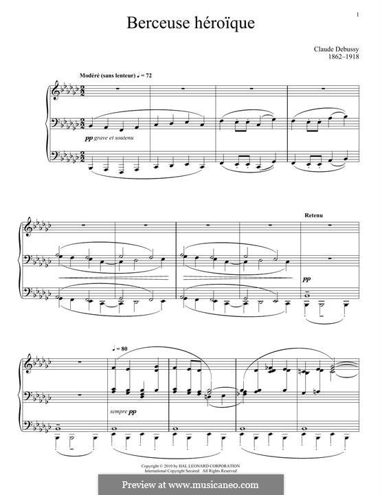 Berceuse héroïque, L.132: Para Piano by Claude Debussy
