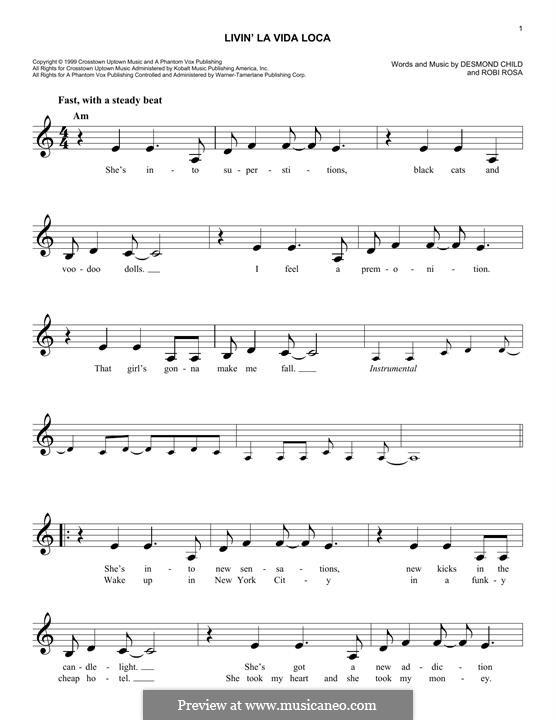 Livin' la vida loca (Ricky Martin): melodia by Desmond Child, Robi Rosa