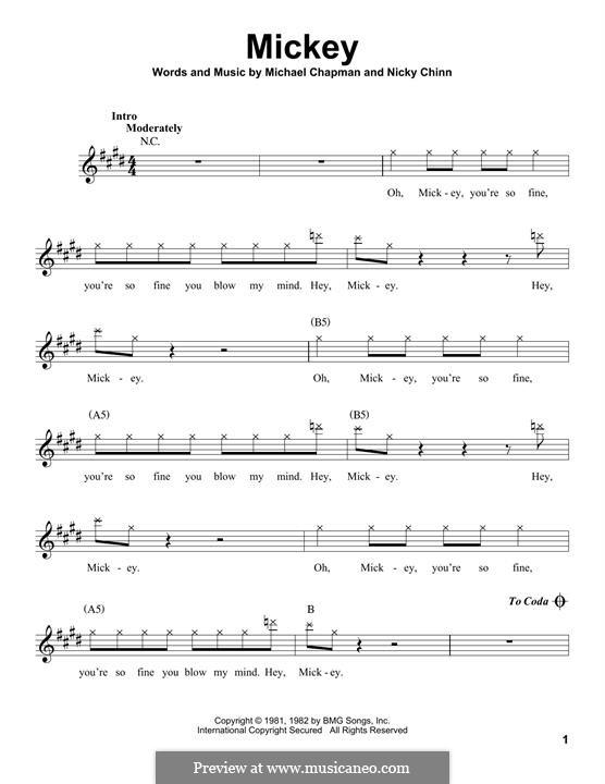 Mickey (Toni Basil): melodia by Mike Chapman, Nicky Chinn