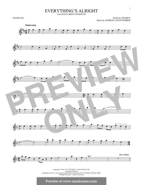Everything's Alright: para saxofone tenor by Andrew Lloyd Webber