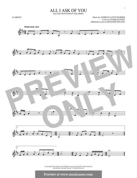 All I Ask of You: para clarinete by Andrew Lloyd Webber