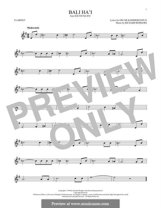 Bali Ha'i: para clarinete by Richard Rodgers