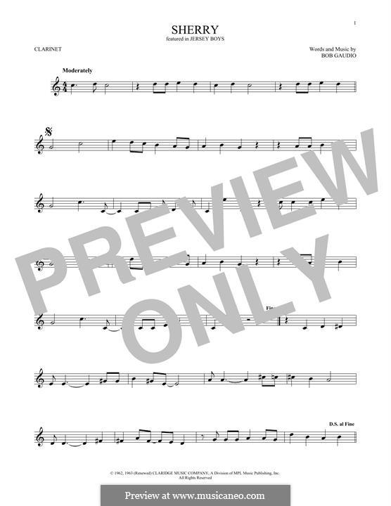Sherry (The Four Seasons): para clarinete by Bob Gaudio