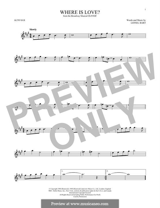 Where Is Love?: para Saxofone Alto by Lionel Bart