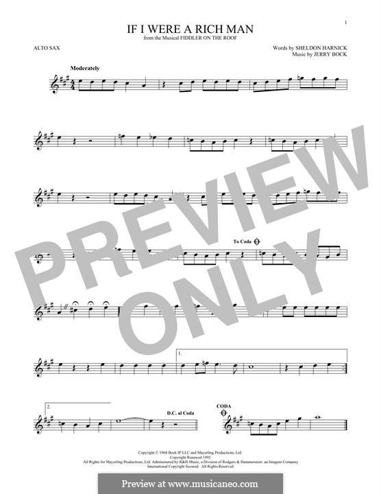 If I Were a Rich Man (from The Fiddler on the Roof): para Saxofone Alto by Jerry Bock