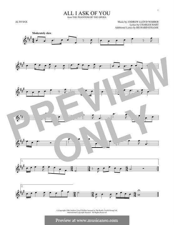 All I Ask of You: para Saxofone Alto by Andrew Lloyd Webber