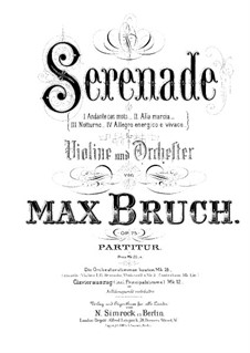 Serenade in A Minor, Op.75: para violino by Max Bruch
