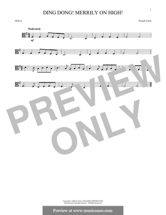 Ding Dong! Merrily on High (Printable Scores): para viola by folklore