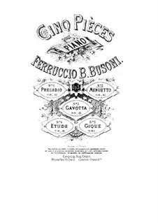 Cinq Pièces (Five Pieces), BV 71 Op.3: No.2 Minueto by Ferruccio Busoni