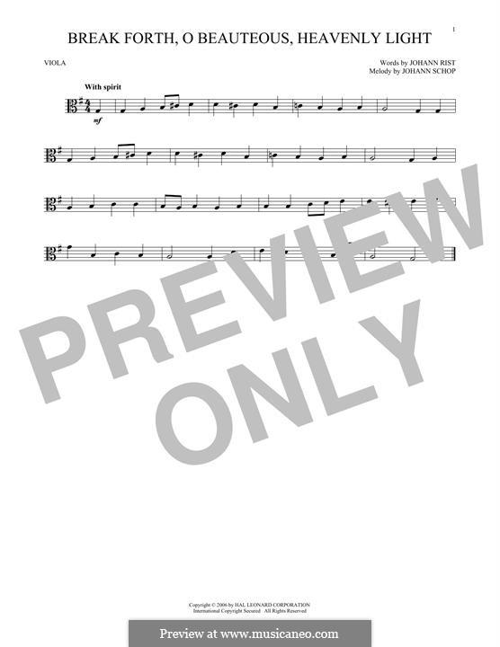 Break Forth, o Beauteous, Heavenly Light: para viola by Johann Schop