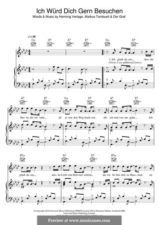 Ich Würd Dich Gern Besuchen (Unheilig): Para vocais e piano (ou Guitarra) by Henning Verlage, Markus Tombuelt
