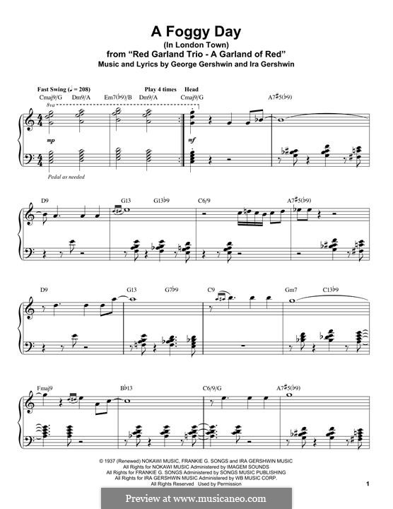 A Foggy Day (In London Town): Para Piano by George Gershwin