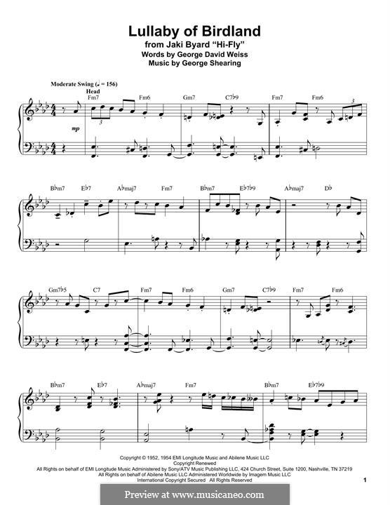 Lullaby of Birdland (Ella  Fitzgerald): Para Piano by George Shearing