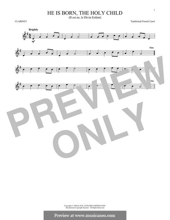 He is Born, the Holy Child (Il est ne, le divin enfant): para clarinete by folklore