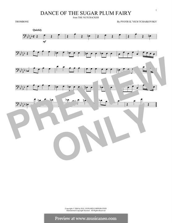 No.3 Dance of the Sugar-Plum Fairy: para trombone by Pyotr Tchaikovsky