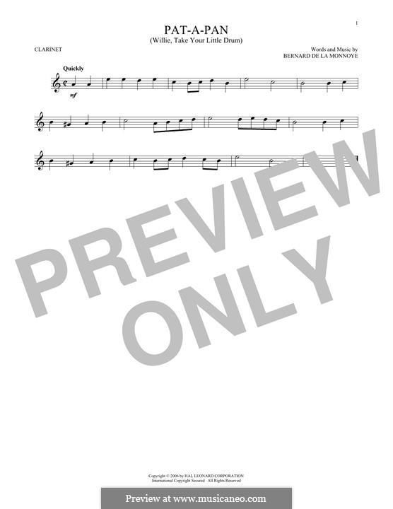 Pat-a-Pan (Willie, Take Your Little Drum): para clarinete by Bernard de la Monnoye