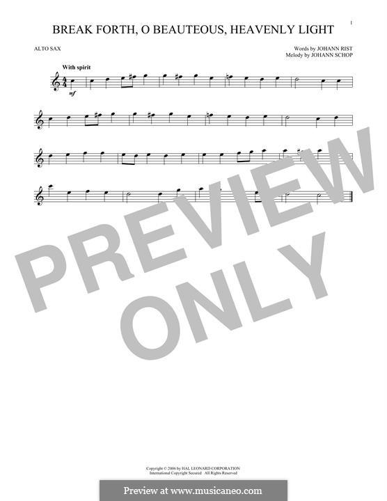 Break Forth, o Beauteous, Heavenly Light: para Saxofone Alto by Johann Schop