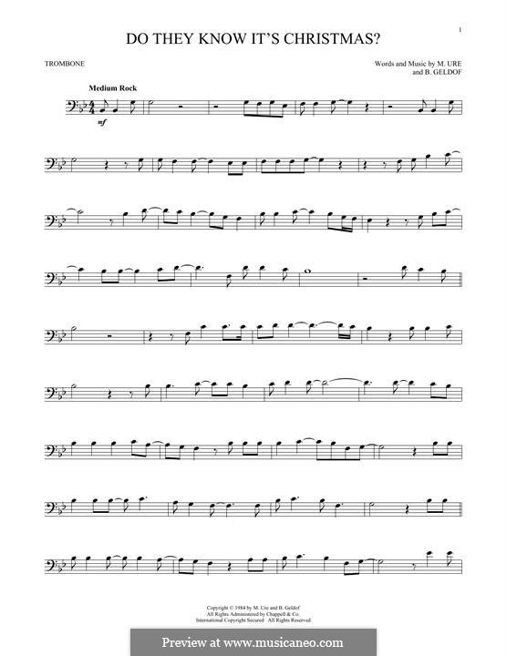 Do They Know It's Christmas? (Feed the World): para trombone by Bob Geldof, Midge Ure