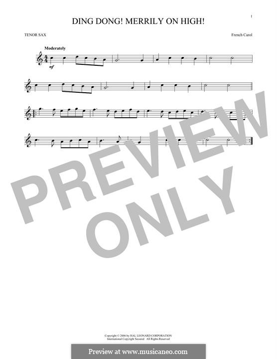 Ding Dong! Merrily on High (Printable Scores): para saxofone tenor by folklore