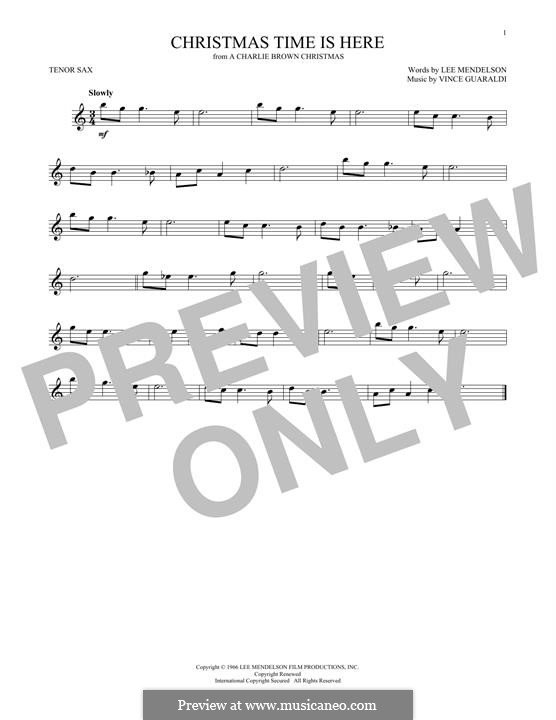 Christmas Time is Here: para saxofone tenor by Vince Guaraldi