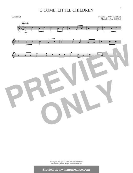 O Come, Little Children: para clarinete by Johann Abraham Schulz