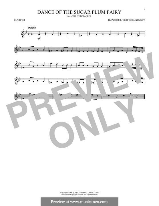 No.3 Dance of the Sugar-Plum Fairy: para clarinete by Pyotr Tchaikovsky
