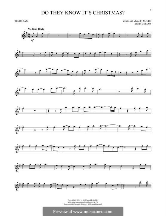 Do They Know It's Christmas? (Feed the World): para saxofone tenor by Bob Geldof, Midge Ure