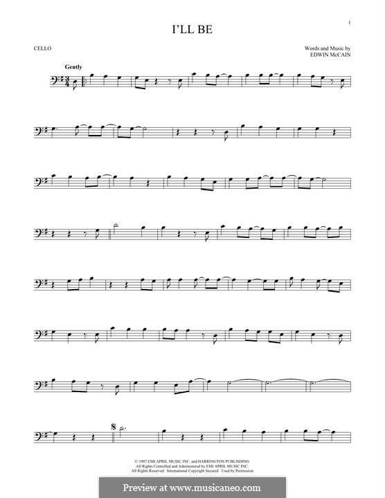 I'll Be: para violoncelo by Edwin McCain