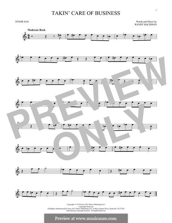 Takin' Care of Business (Bachman-Turner Overdrive): para saxofone tenor by Randy Bachman