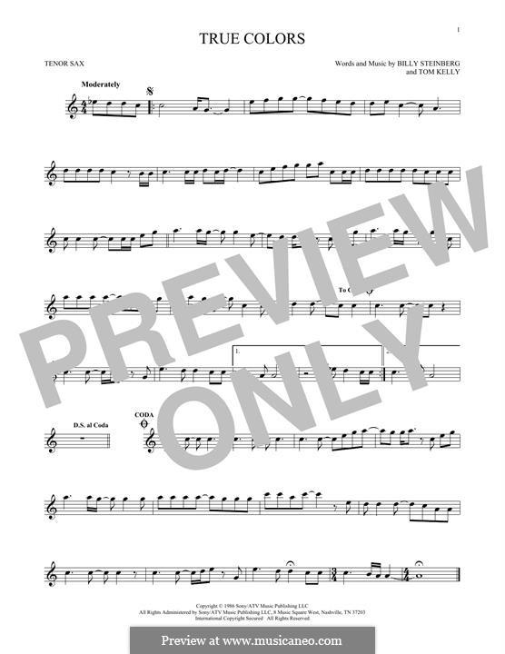 True Colors: para saxofone tenor by Billy Steinberg, Tom Kelly