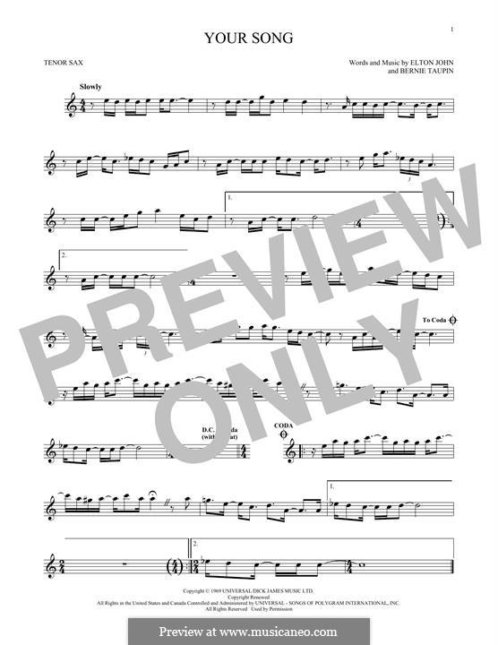 Your Song: para saxofone tenor by Elton John