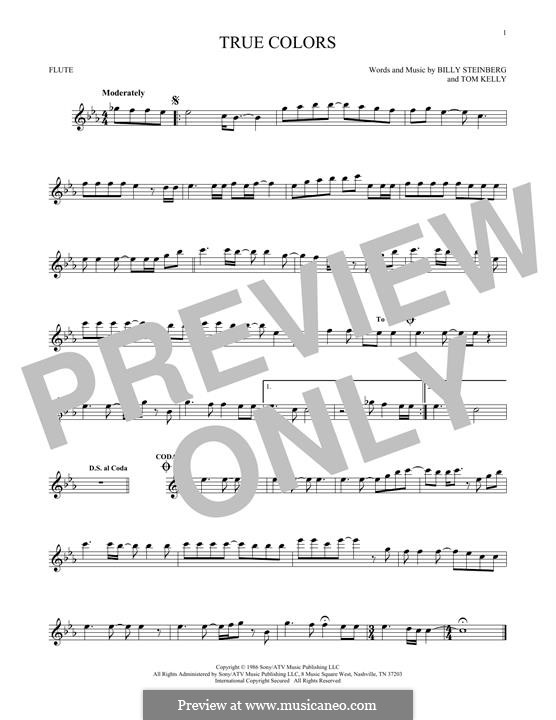 True Colors: para flauta by Billy Steinberg, Tom Kelly