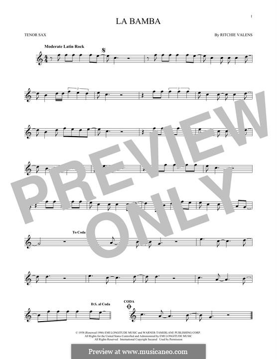La Bamba: para saxofone tenor by folklore, Ritchie Valens