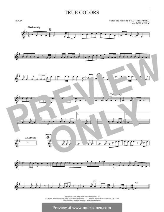 True Colors: para violino by Billy Steinberg, Tom Kelly