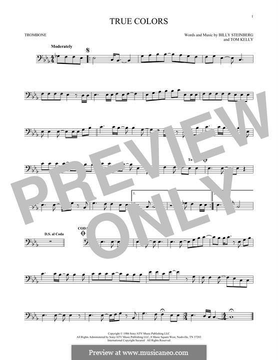 True Colors: para trombone by Billy Steinberg, Tom Kelly